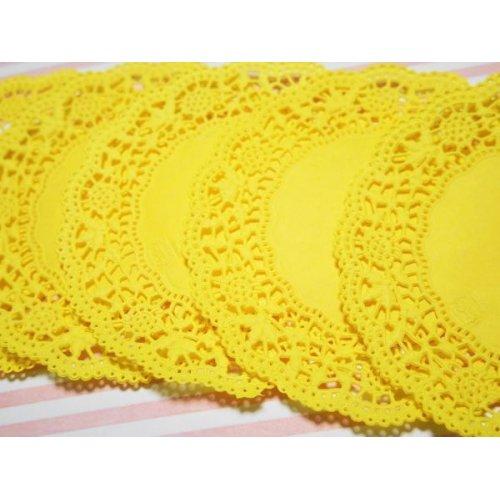 他の写真2: ドイツ カラーレースペーパー 黄色 5枚セット