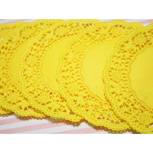 画像2: ドイツ カラーレースペーパー 黄色 5枚セット